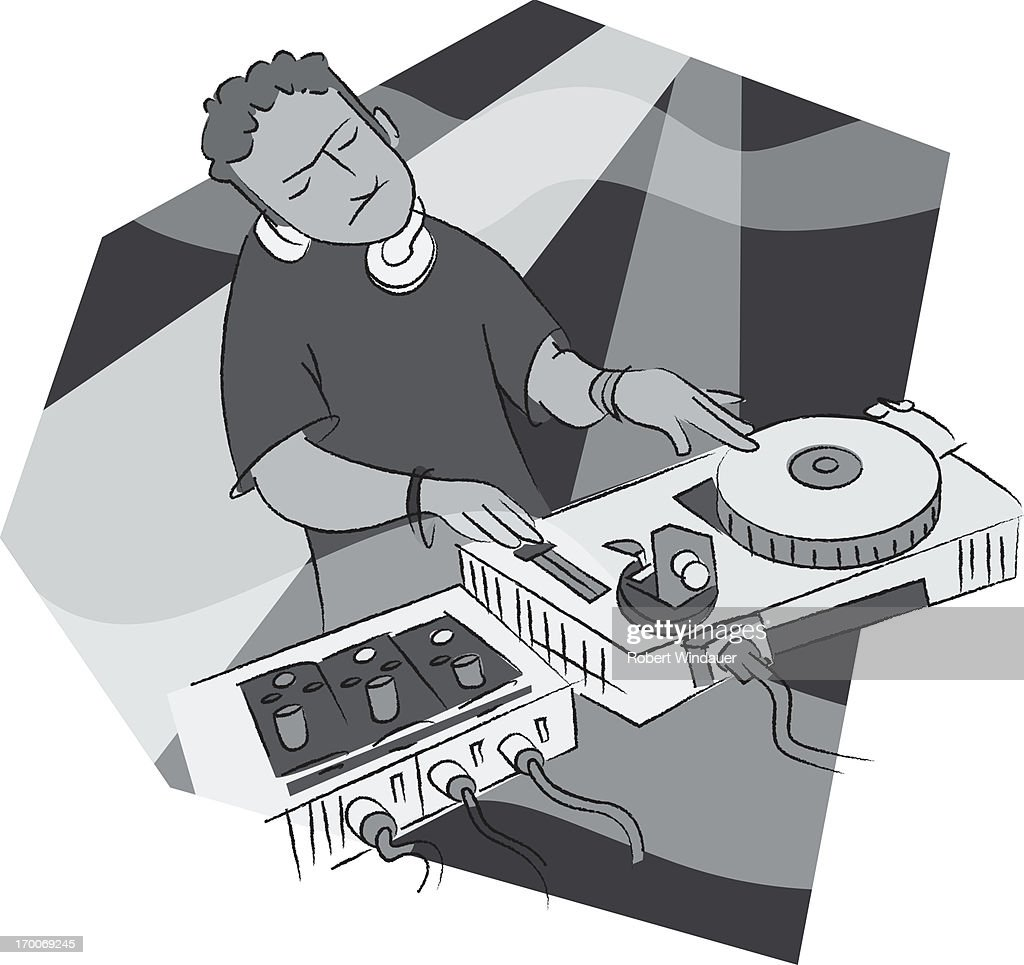 A deejay at his turntable : Stock Illustration