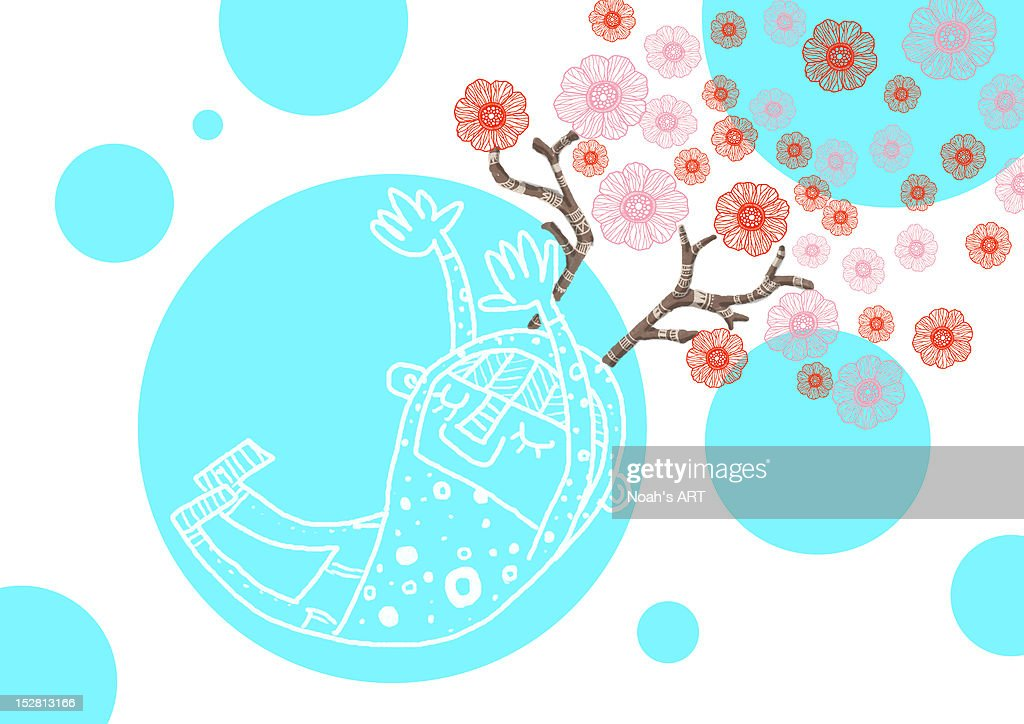 Deer girl with bubble and flowers : Stock Illustration
