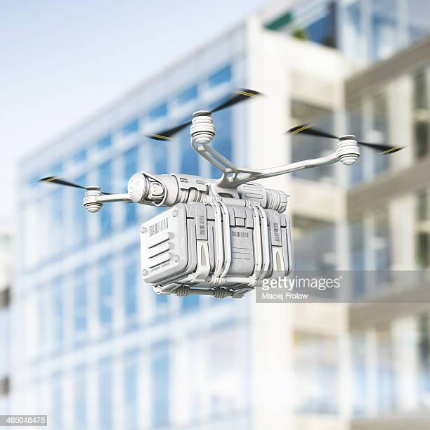 Delivery drone flying in urban area