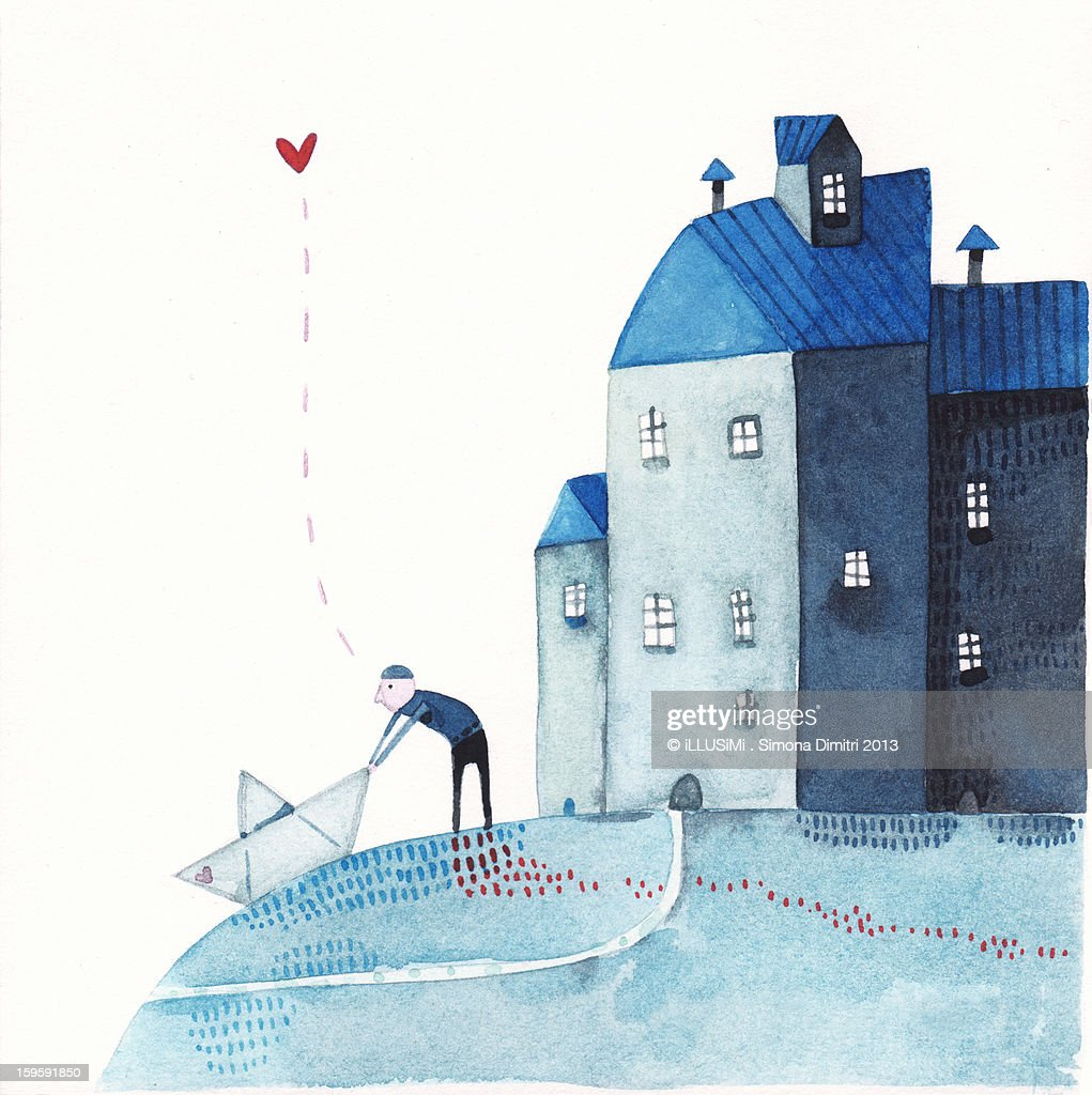departure, with a paper boat : Stock Illustration