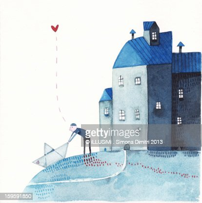 departure, with a paper boat : Stockillustraties