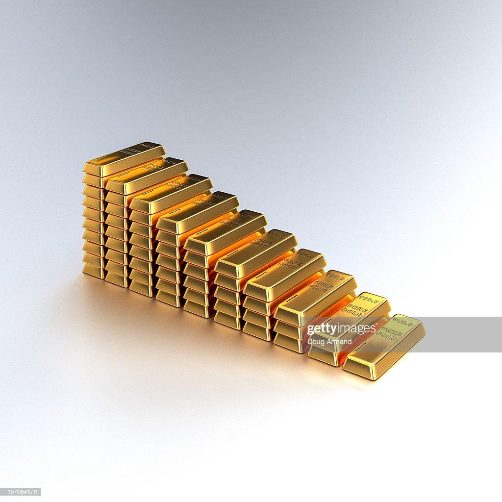 A descending stack of gold bars on white : Stock Illustration