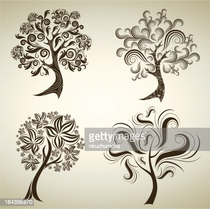 Designs with decorative tree from leafs : Vector Art