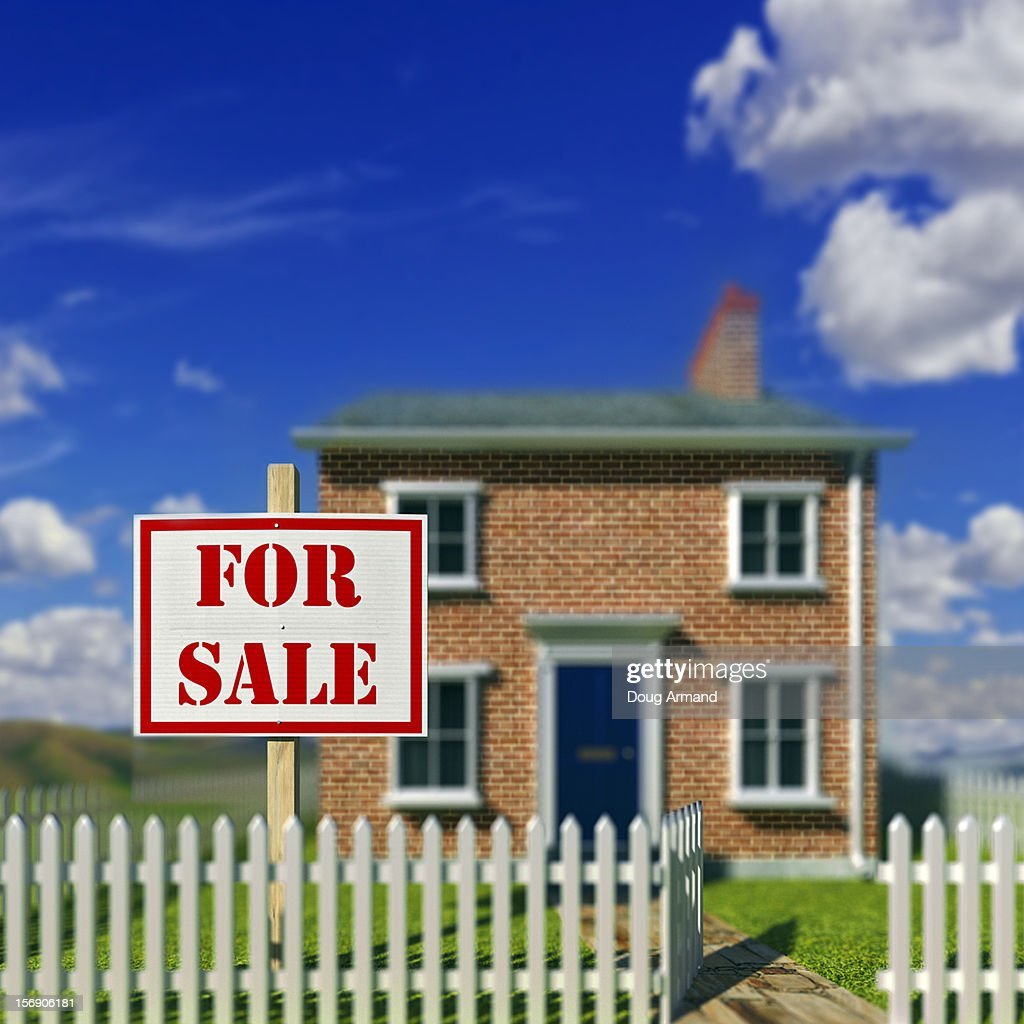 A detached house with a For Sale sign : Stock Illustration