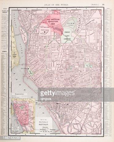 Detailed Antique Color City Street Map Buffalo New York Usa Stock