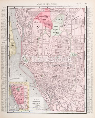 Detailed Antique Color City Street Map Buffalo New York Usa Stock