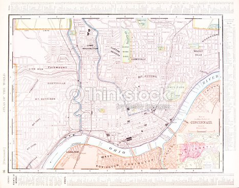 Detailed Antique Color Street City Map Of Cincinnati Ohio Usa Stock on