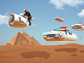 Air motorcycle and hero pilot is flying with new generation jet technology on the desert. The cops are chasing the rogue.