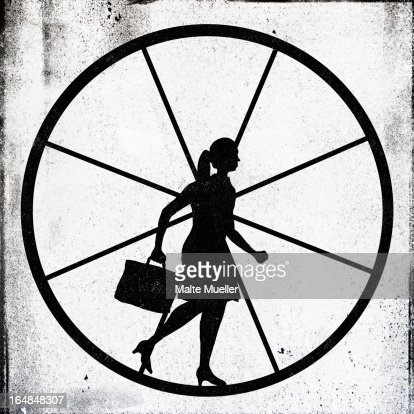 A determined looking businesswoman jogging on an exercise wheel : Stock Illustration