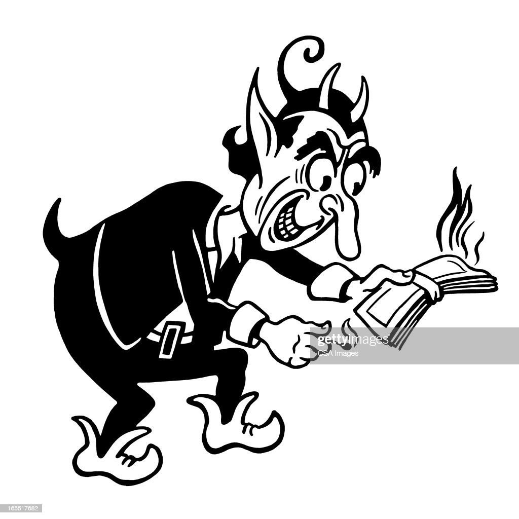 Devil Burning Money : Stock Illustration