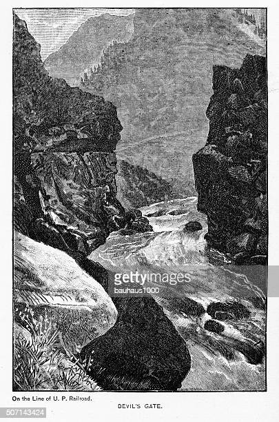 Devil's Gate in in the Clear Creek Canyon Victorian Engraving