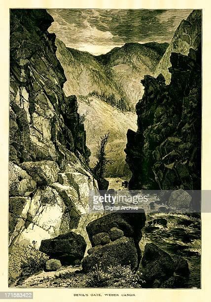 Devil's Gate, Weber Canyon, Utah | Historic American Illustrations