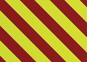 Diagonal striped warning background with hexagon pattern in red and yellow