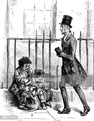 Dickens - man with street urchins - Oliver Twist : Stock Illustration