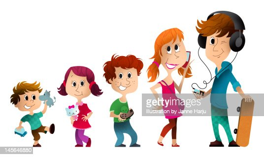 Different ages kids : Stock Illustration