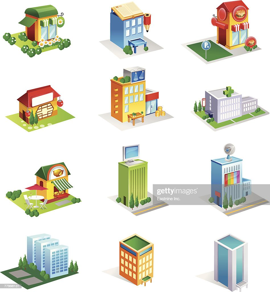 Different Types Of Buildings : Different types of commercial buildings vector art getty