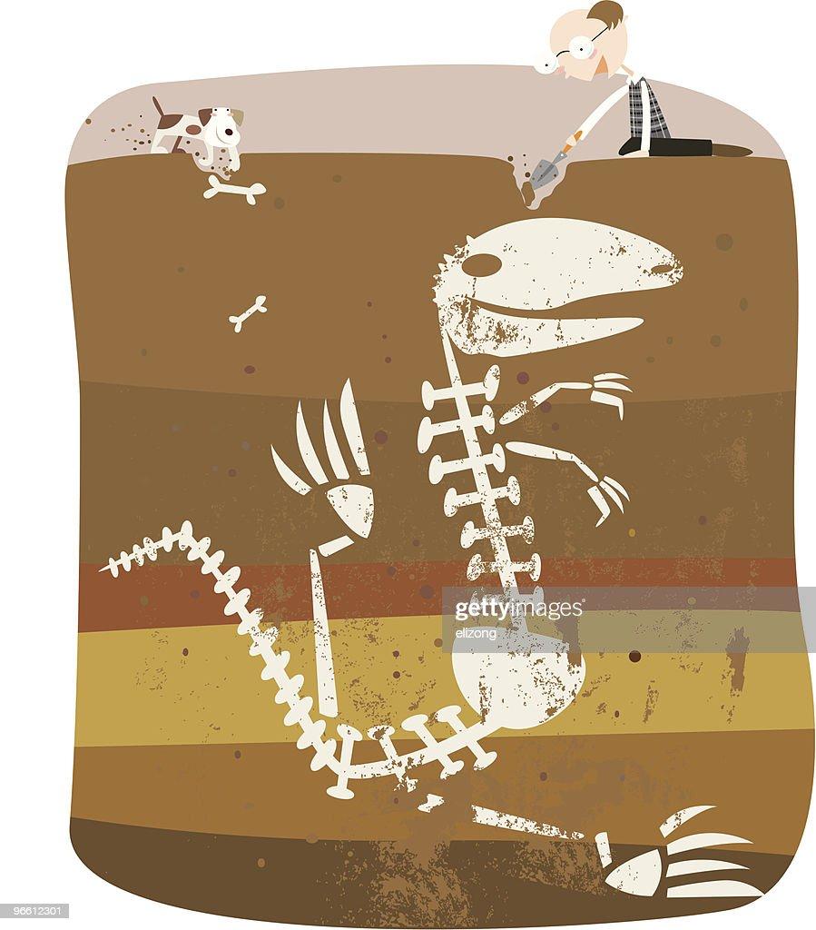 digging up some bones : Vector Art