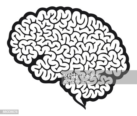 Digital cartoon of human brain showing cerebrum : Stock Illustration