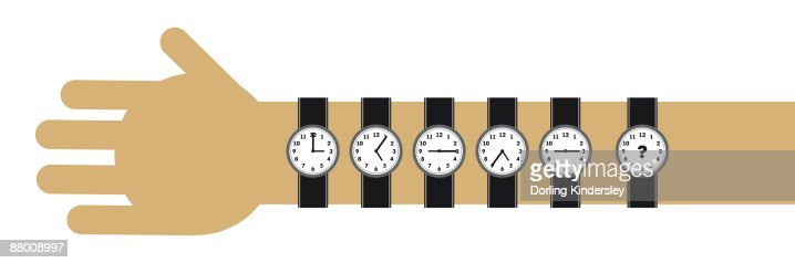 Digital cartoon of six watches on wrist and arm showing different times and question mark : Stock Illustration
