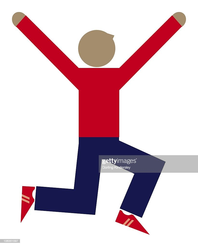 Digital illustration of athlete jumping up in the air with arms raised : Stock Illustration