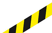 Digital illustration of black and yellow cordon tape