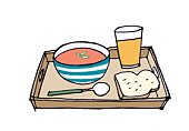 Digital illustration of bowl of tomato soup, slice of bread, orange juice, and spoon on tray