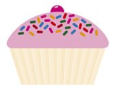 Digital illustration of cupcake with pink icing, hundreds and thousands and cherry on top