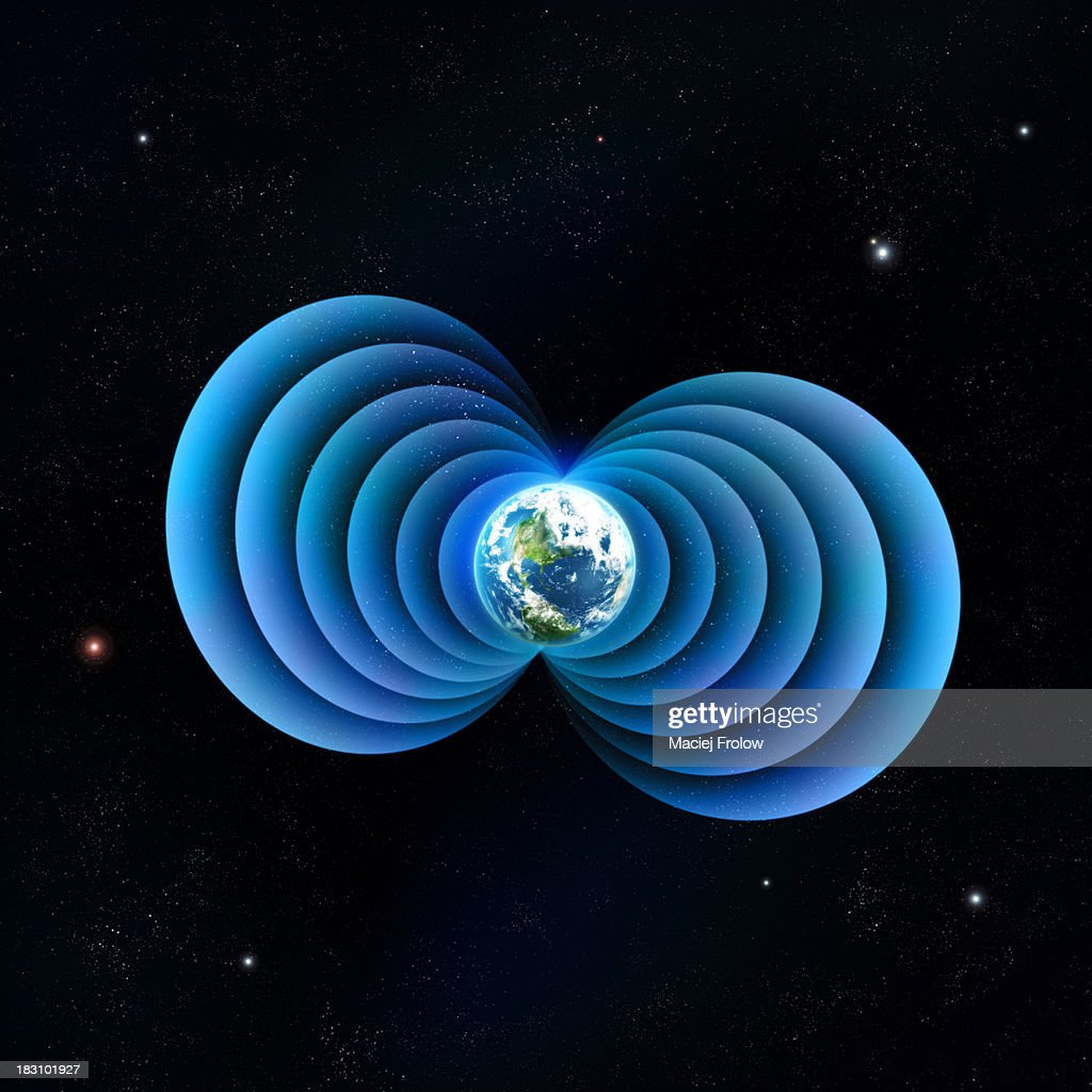 Digital illustration of Earth's magnetic field : Stock Illustration