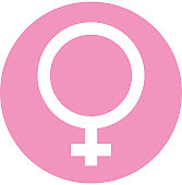 Digital illustration of female symbol in pink circle on white background