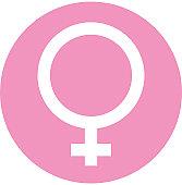 Digital illustration of female symbol in pink circle on white background