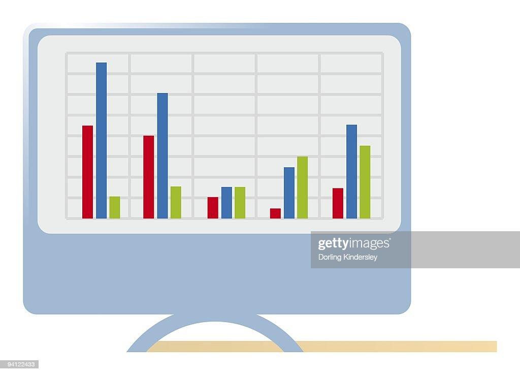 Digital illustration of graph on computer monitor : Stock Illustration