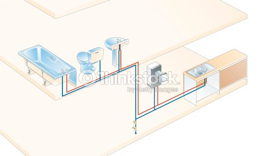 Digital Illustration Of Indirect Water System Connected To Bathroom ...