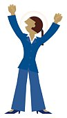 Digital illustration of jubilant businesswoman