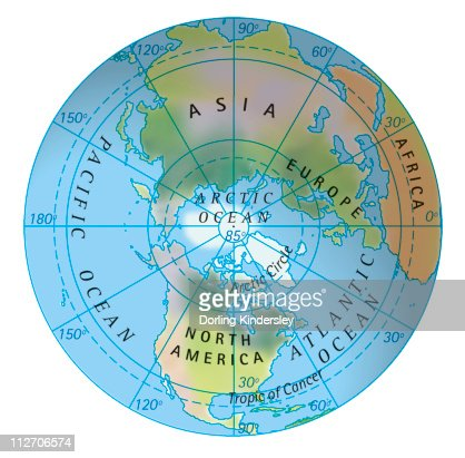 digital illustration of map of northern hemisphere stock
