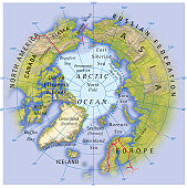 Digital illustration of map showing position of Arctic Ocean and surrounding continents
