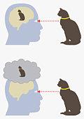 Digital illustration of monism and dualism in human brain