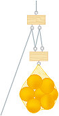 Digital illustration of net bag of oranges suspended from pulley system