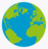 Digital illustration of planet Earth showing continents in green
