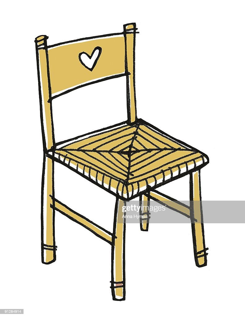 Digital illustration of rustic pine chair with heart shape symbol on back : Stock Illustration