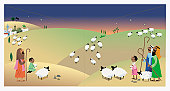 Digital Illustration of shepherds watching their flocks at night