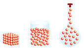 Digital illustration of showing shape and volume of solid gas, and liquid gas taking shape of conica