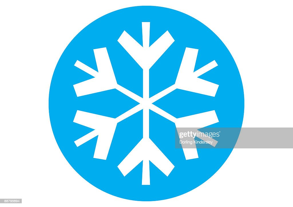 digital illustration of snowflake symbol in blue circle