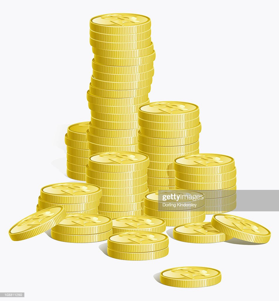 Digital illustration of stacks of gold coins : Stock Illustration