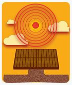 Digital illustration of sun radiating heat above solar panel