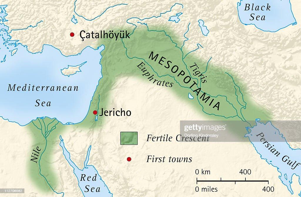 Digital Illustration Of The Fertile Crescent Of Mesopotamia And