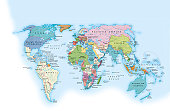 Digital illustration of the world in 1900 showing how it was governed by different nations