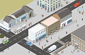 Digital illustration of town centre