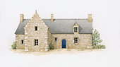 Digital illustration of typical stone house with slate roof found in Brittany, France