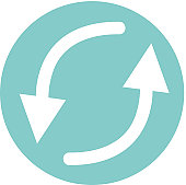 Digital illustration of white arrow symbols representing circulation in turquoise circle on white background