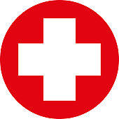 Digital illustration of white first aid cross in red circle on white background